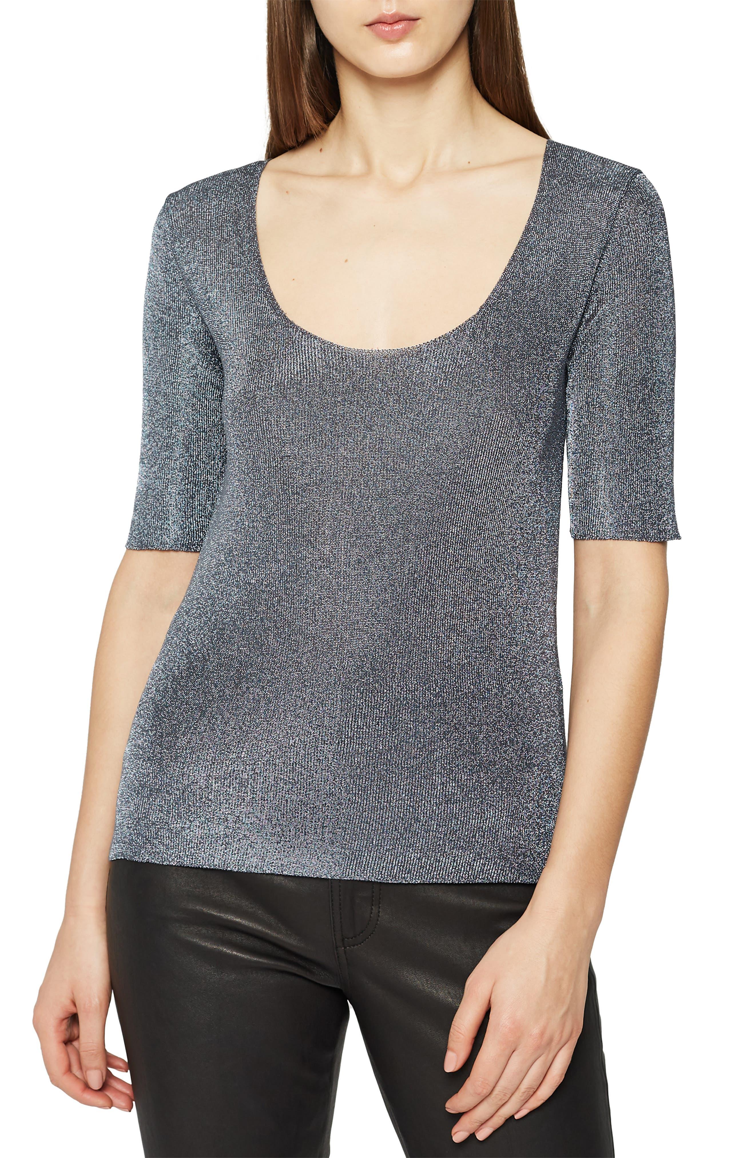 Tabby Scoop Neck Metallic Sweater, Main, color, CHARCOAL