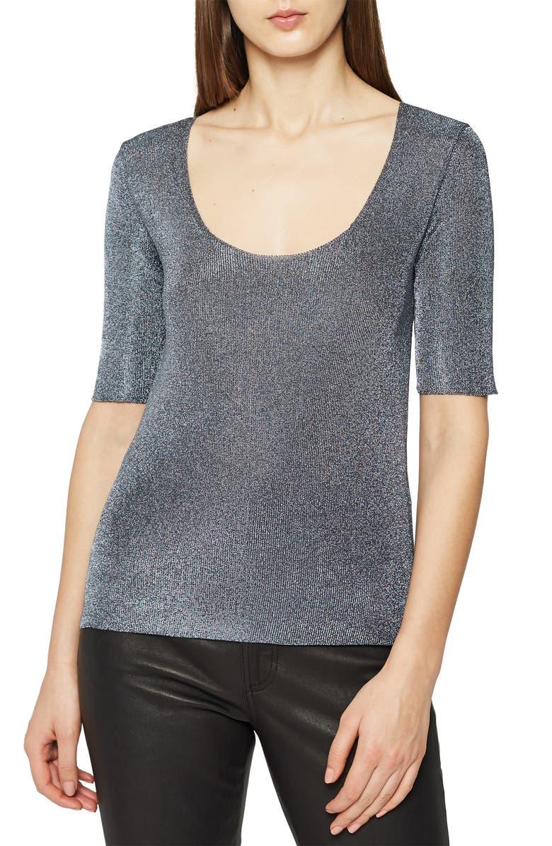 REISS Tabby Scoop Neck Metallic Sweater, Main, color, 020