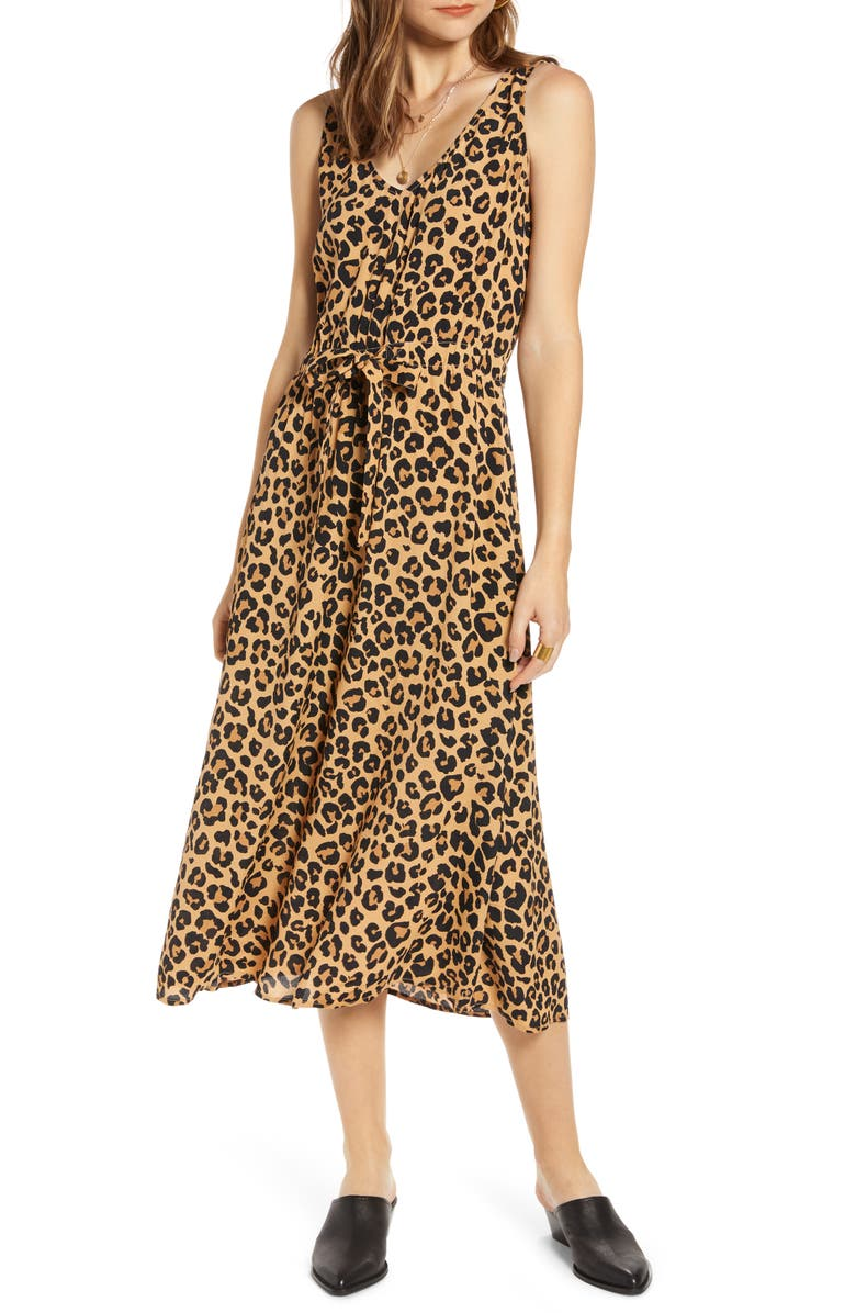 TREASURE & BOND Blouson Tank Midi Dress, Main, color, TAN DOE CHEETAH