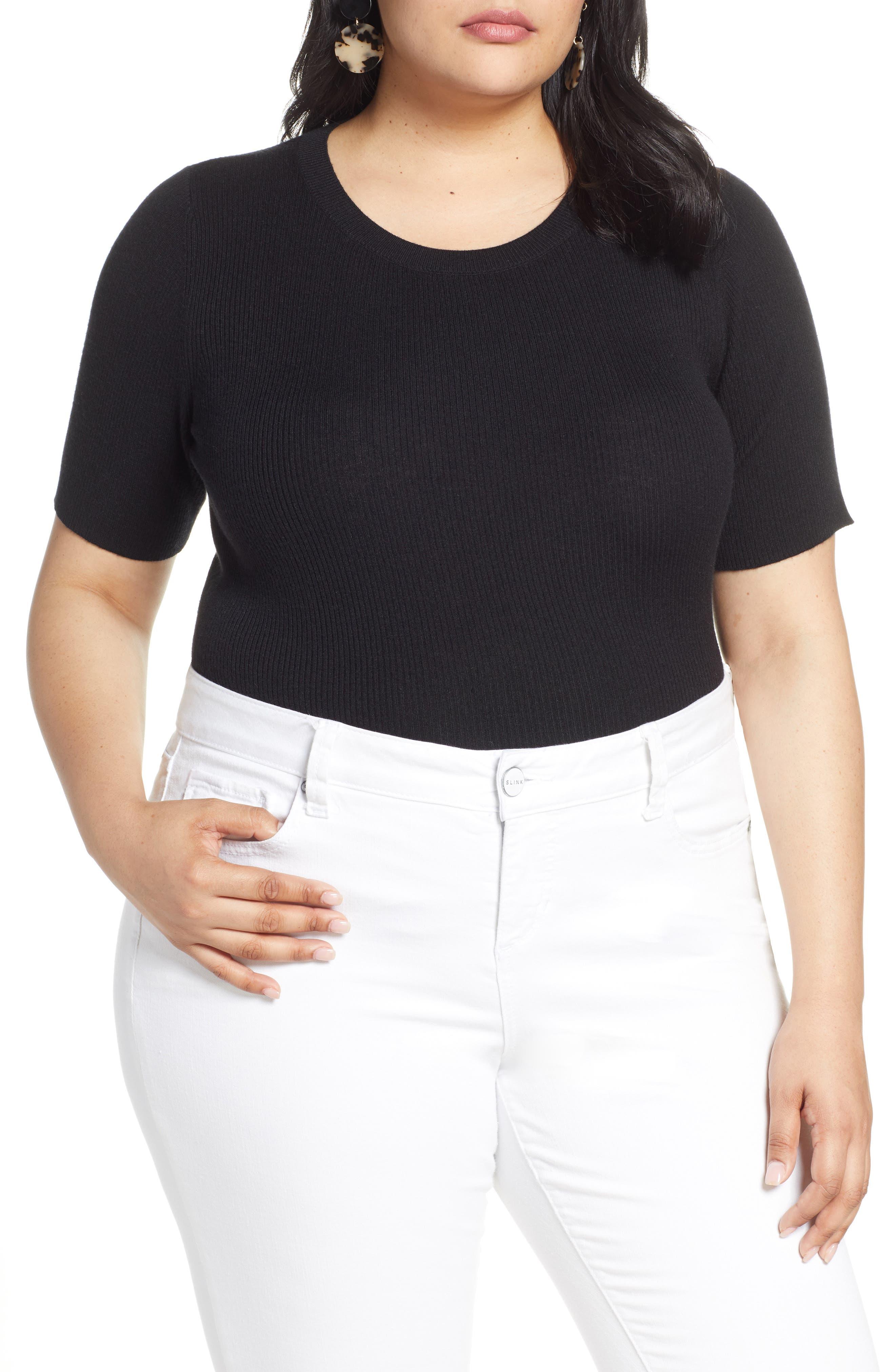 Plus Size Halogen Skivvy Short Sleeve Sweater, Black