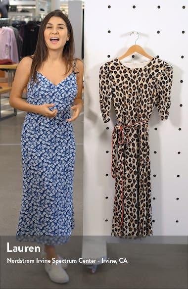 Leopard Print Piped Sash Midi Dress, sales video thumbnail