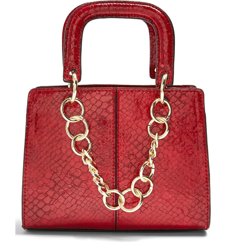 TOPSHOP Case Chain Detail Faux Leather Crossbody Bag, Main, color, RED