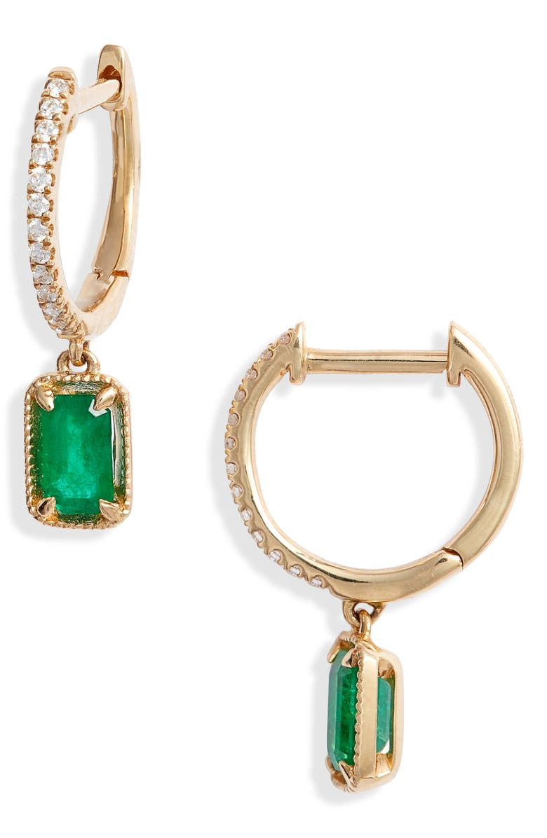 BONY LEVY El Mar Emerald & Diamond Drop Earrings, Main, color, YELLOW GOLD/ EMERALD