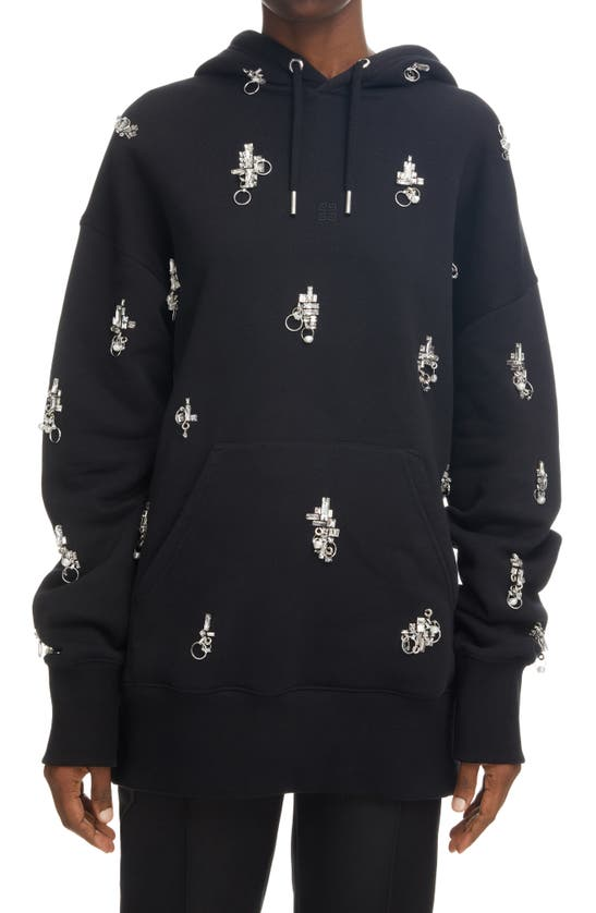 Givenchy Cottons OVERSIZE CRYSTAL EMBELLISHED COTTON HOODIE