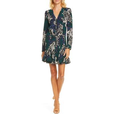 Veronica Beard Riggins Floral Long Sleeve Stretch Silk Minidress, Black