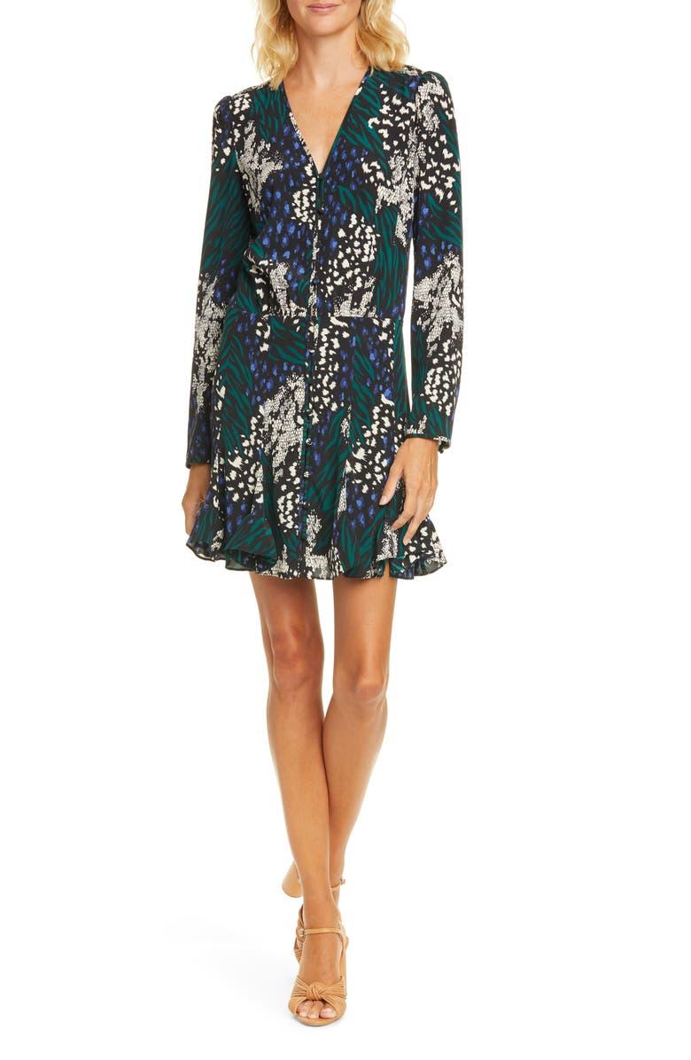 VERONICA BEARD Riggins Floral Long Sleeve Stretch Silk Minidress, Main, color, 004