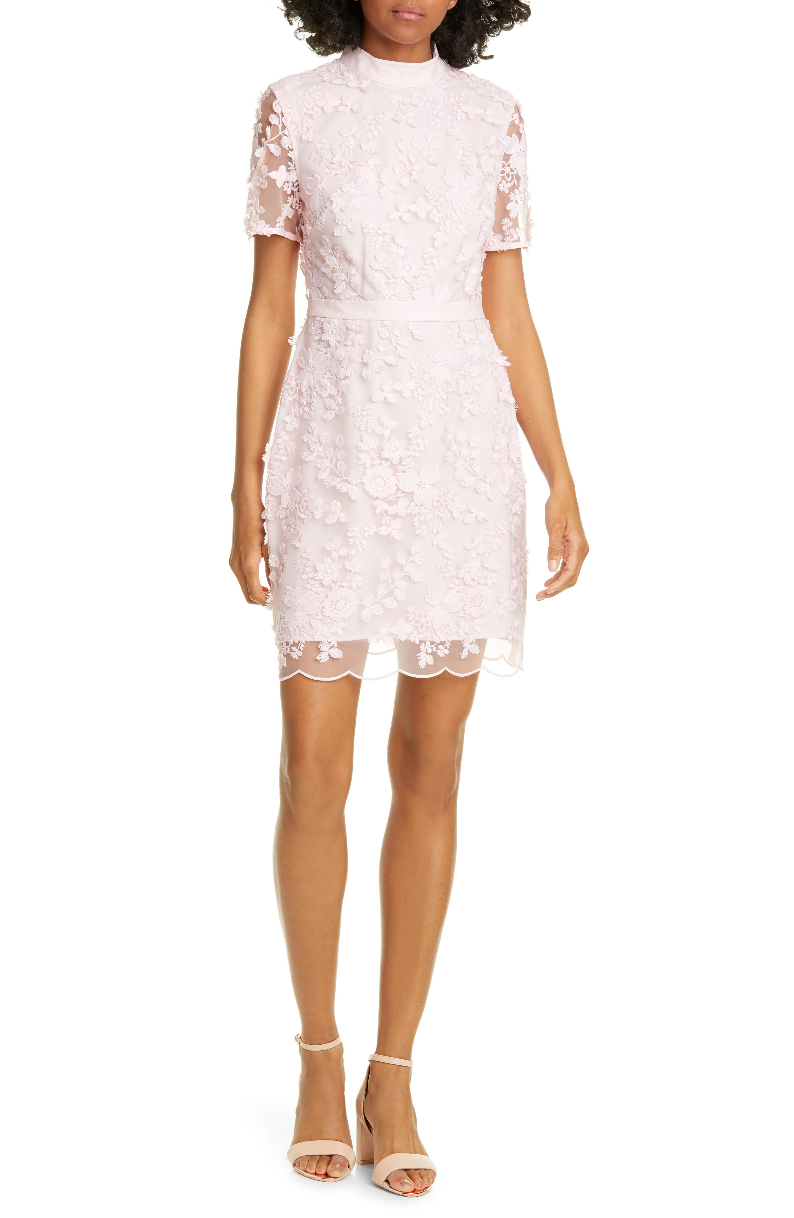 Ted Baker London Elegant Lace Applique Dress, Pink
