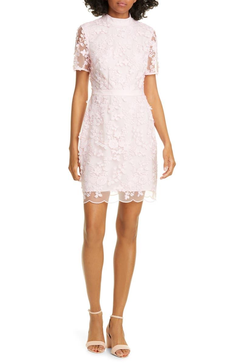 TED BAKER LONDON Elegant Lace Appliqué Dress, Main, color, PINK