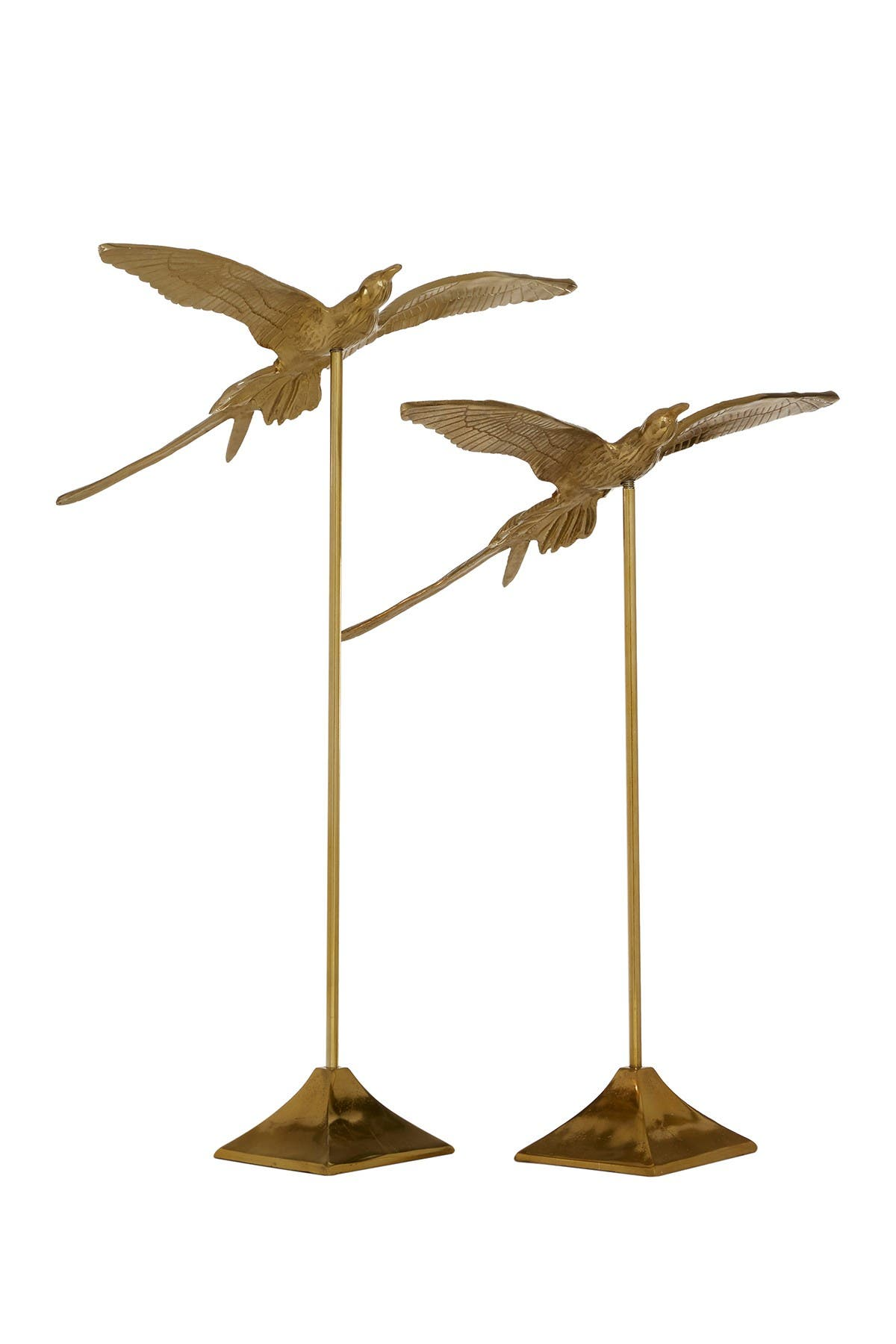 """Image of Willow Row Gold Metal Bird Sculptures On Square Stand - Set Of 2: 25"""" - 30"""""""