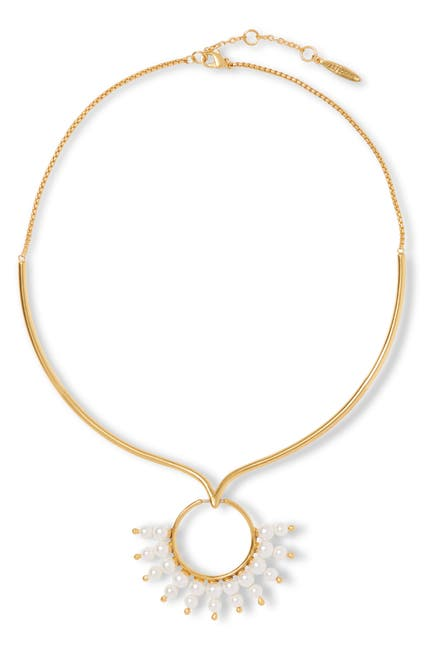 Image of Sole Society Imitation Pearl Circle Pendant Collar Necklace