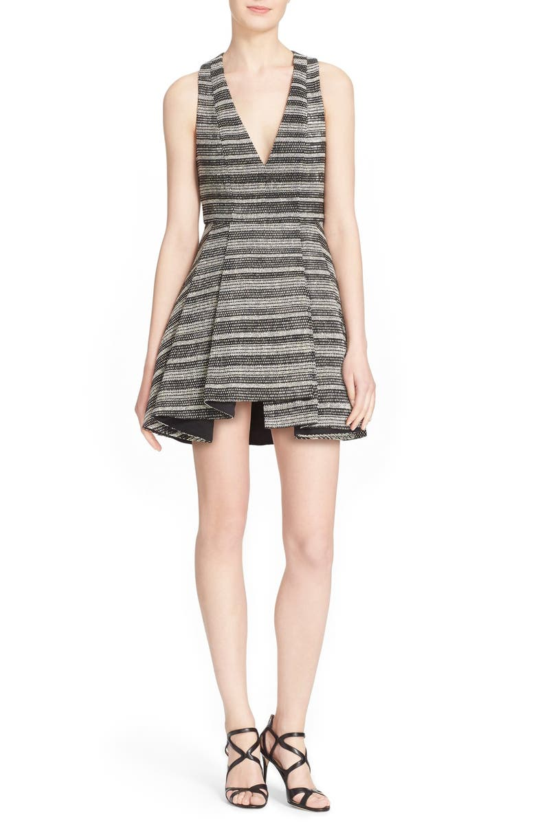 Alice Olivia Tanner Woven Stripe Fit Amp Flare Dress