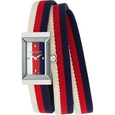 Gucci G-Frame Rectangular Nylon Strap Watch, 1m X 25Mm