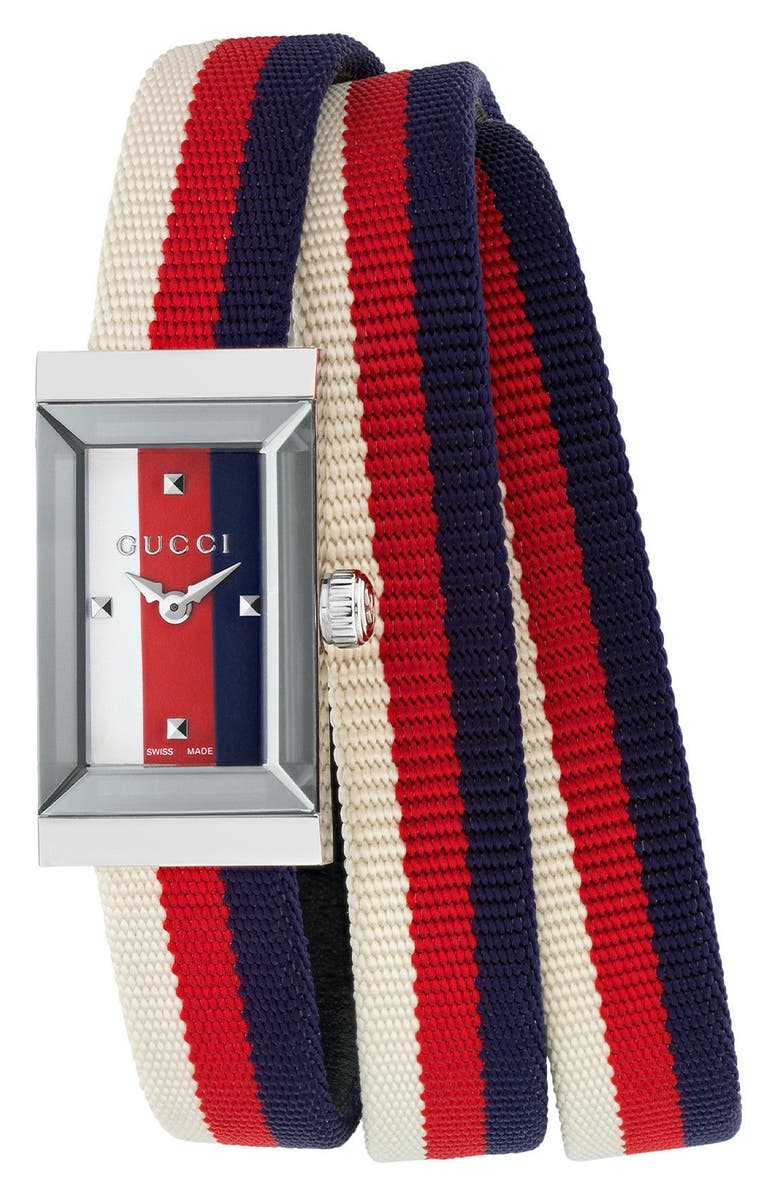 GUCCI G-Frame Rectangular Nylon Strap Watch, 14mm x 25mm, Main, color, RED/ WHITE/ BLUE