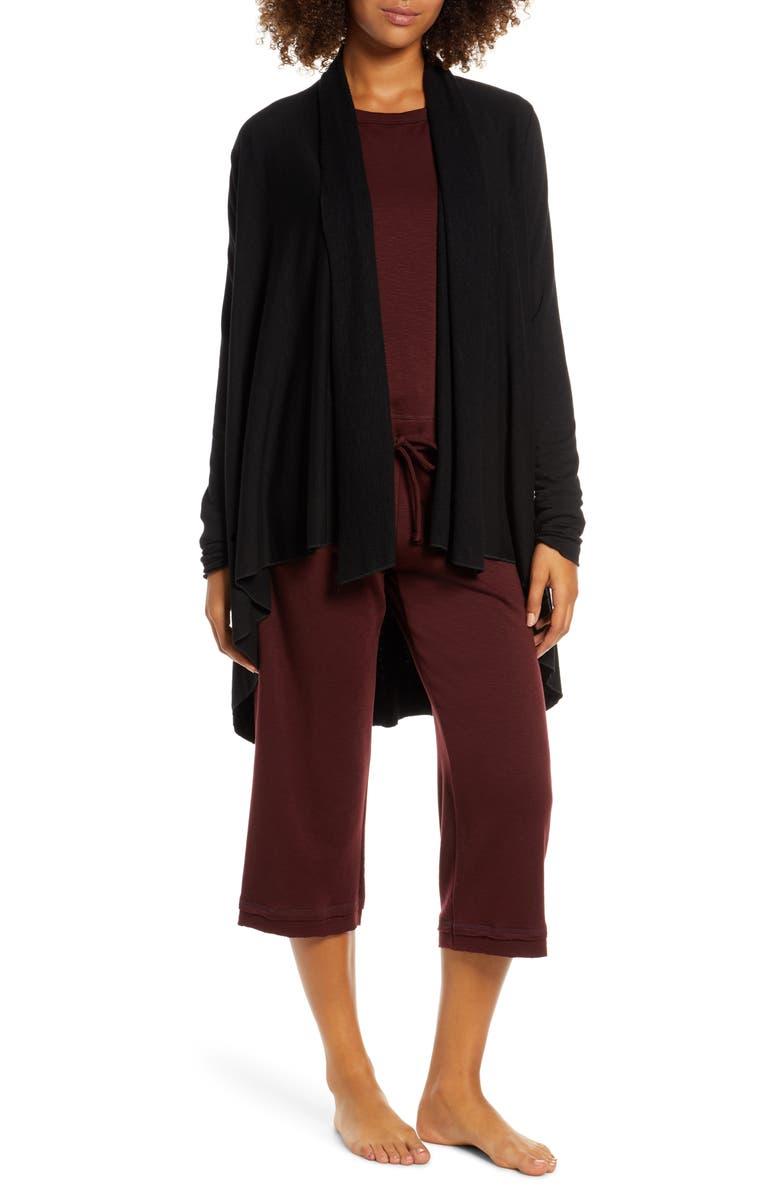 GROCERIES APPAREL Scarlette High/Low Blanket Cardigan, Main, color, BLK