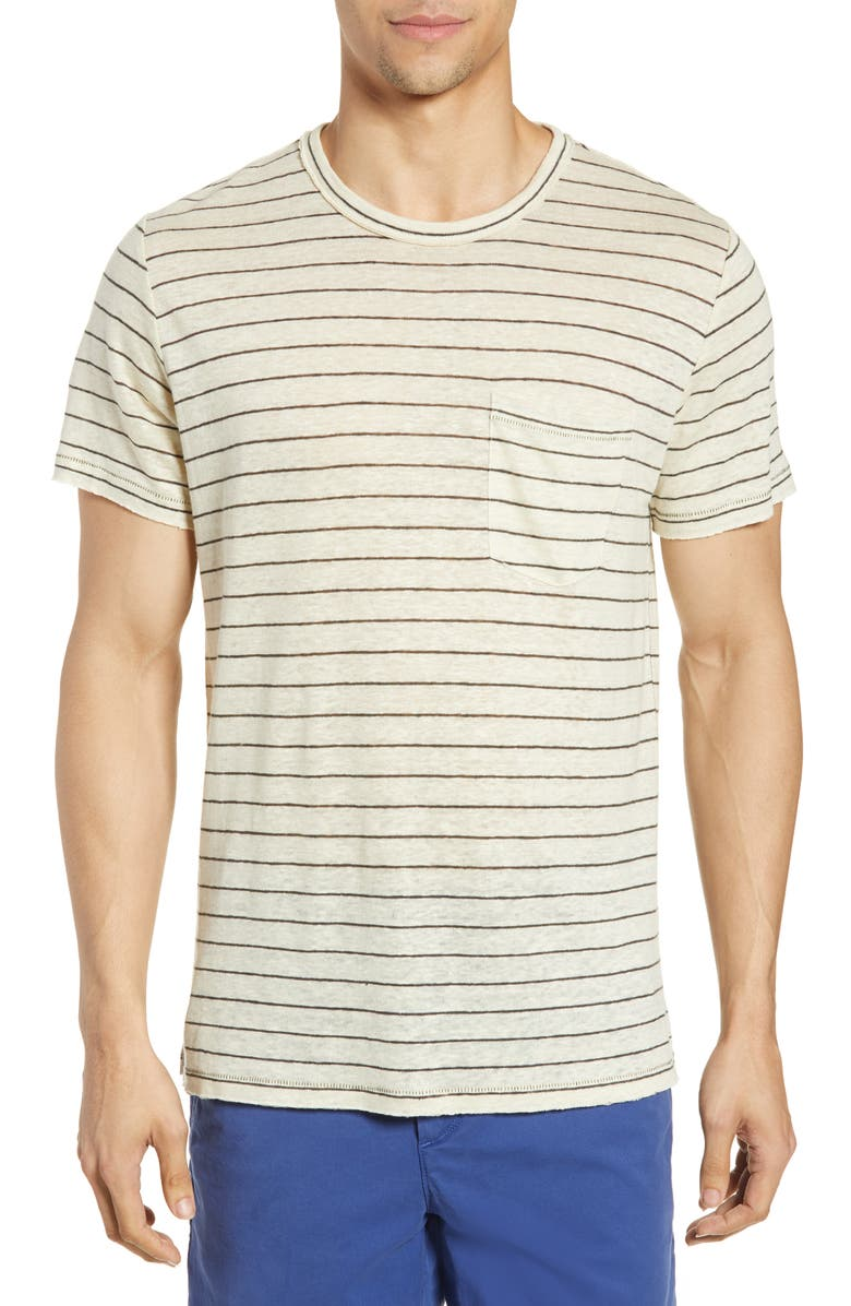 RAG & BONE Owen Stripe Linen Pocket T-Shirt, Main, color, IVRYDKGRY