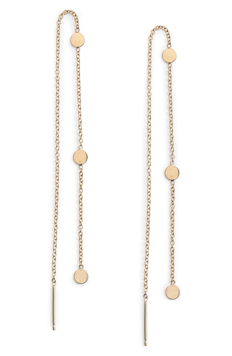 ZOË CHICCO Itty Bitty Disc Threader Earrings, Main, color, GOLD