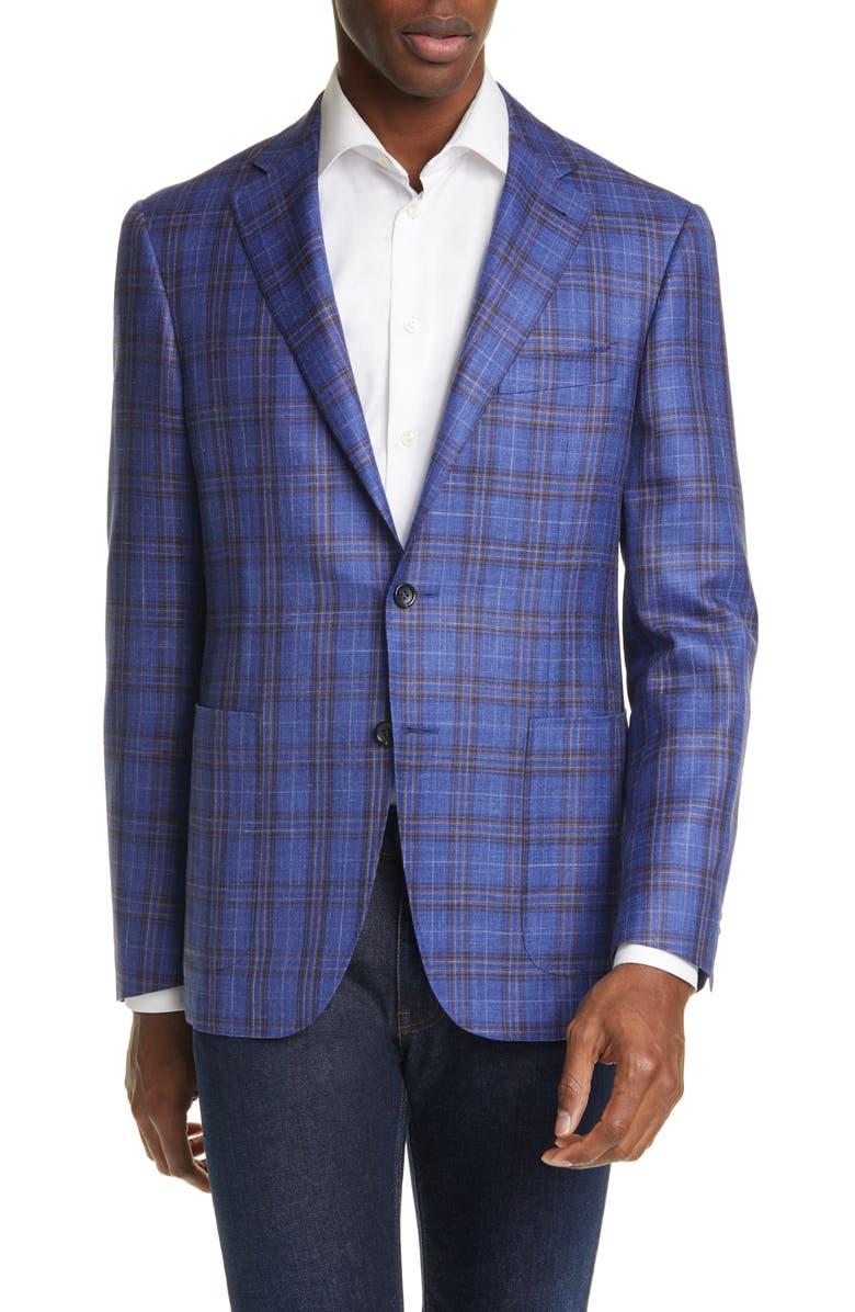CANALI Classic Fit Plaid Wool & Silk Blend Sport Coat, Main, color, BLUE