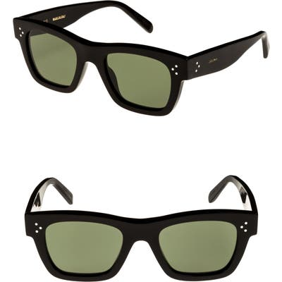 Celine Mineral 51mm Rectangle Sunglasses - Black/ Smoke
