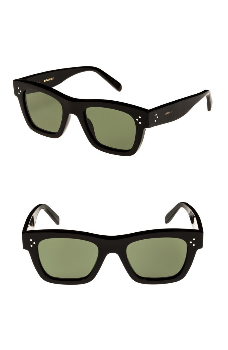 CELINE 51mm Rectangle Sunglasses, Main, color, BLACK/ SMOKE