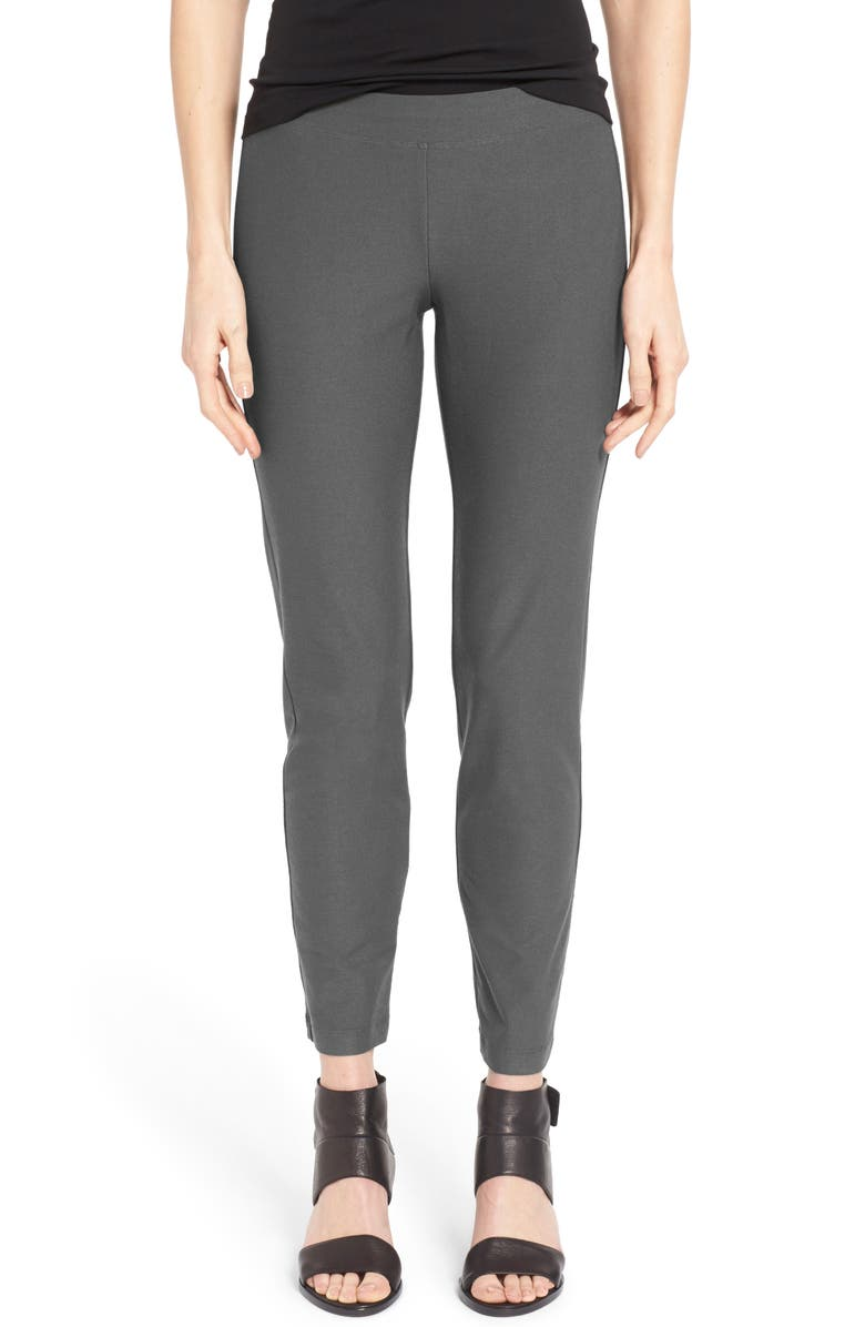 EILEEN FISHER Stretch Crepe Slim Ankle Pants, Main, color, SLATE