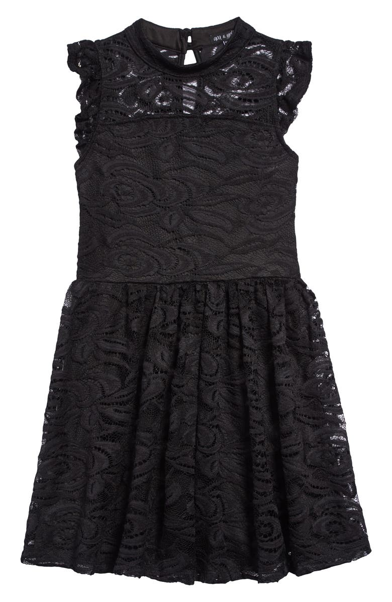 AVA & YELLY Lace Skater Dress, Main, color, 001