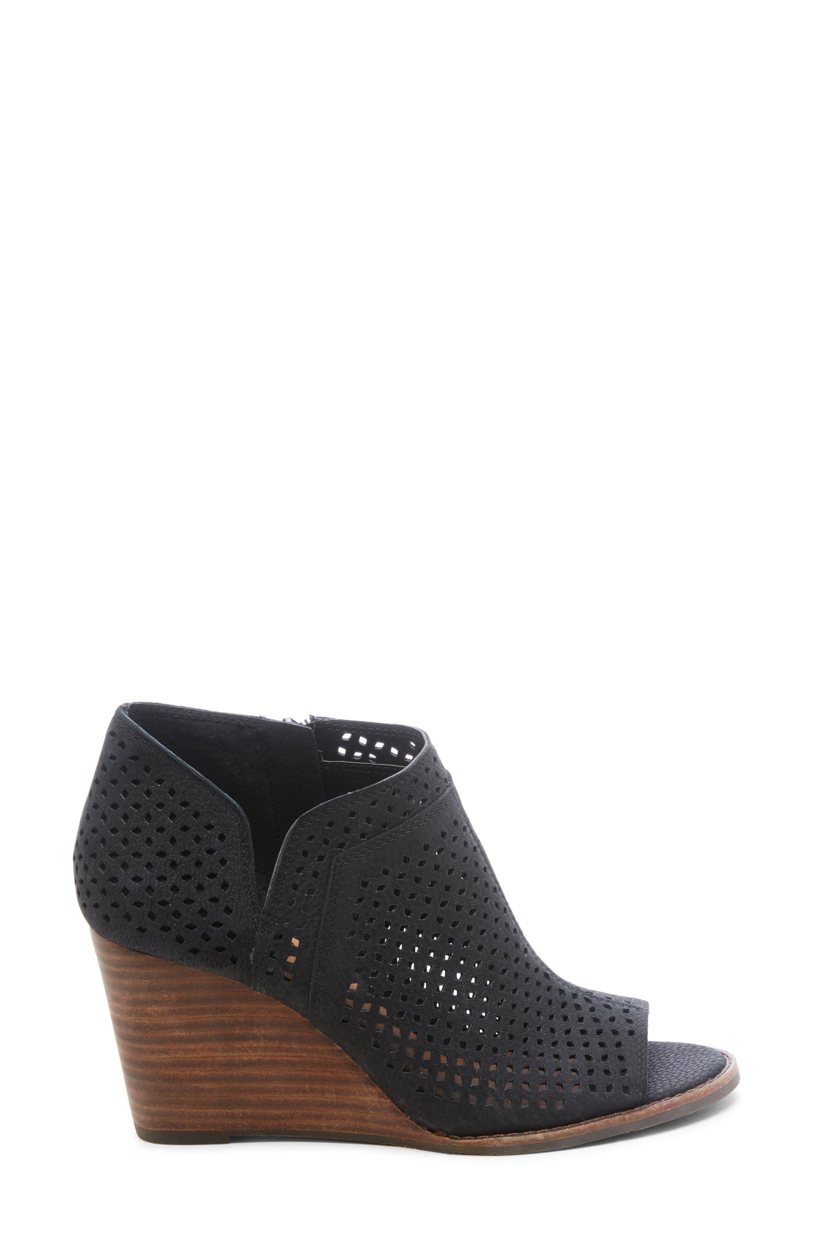 ,                             Jazley Wedge Bootie,                             Alternate thumbnail 3, color,                             BLACK NUBUCK LEATHER