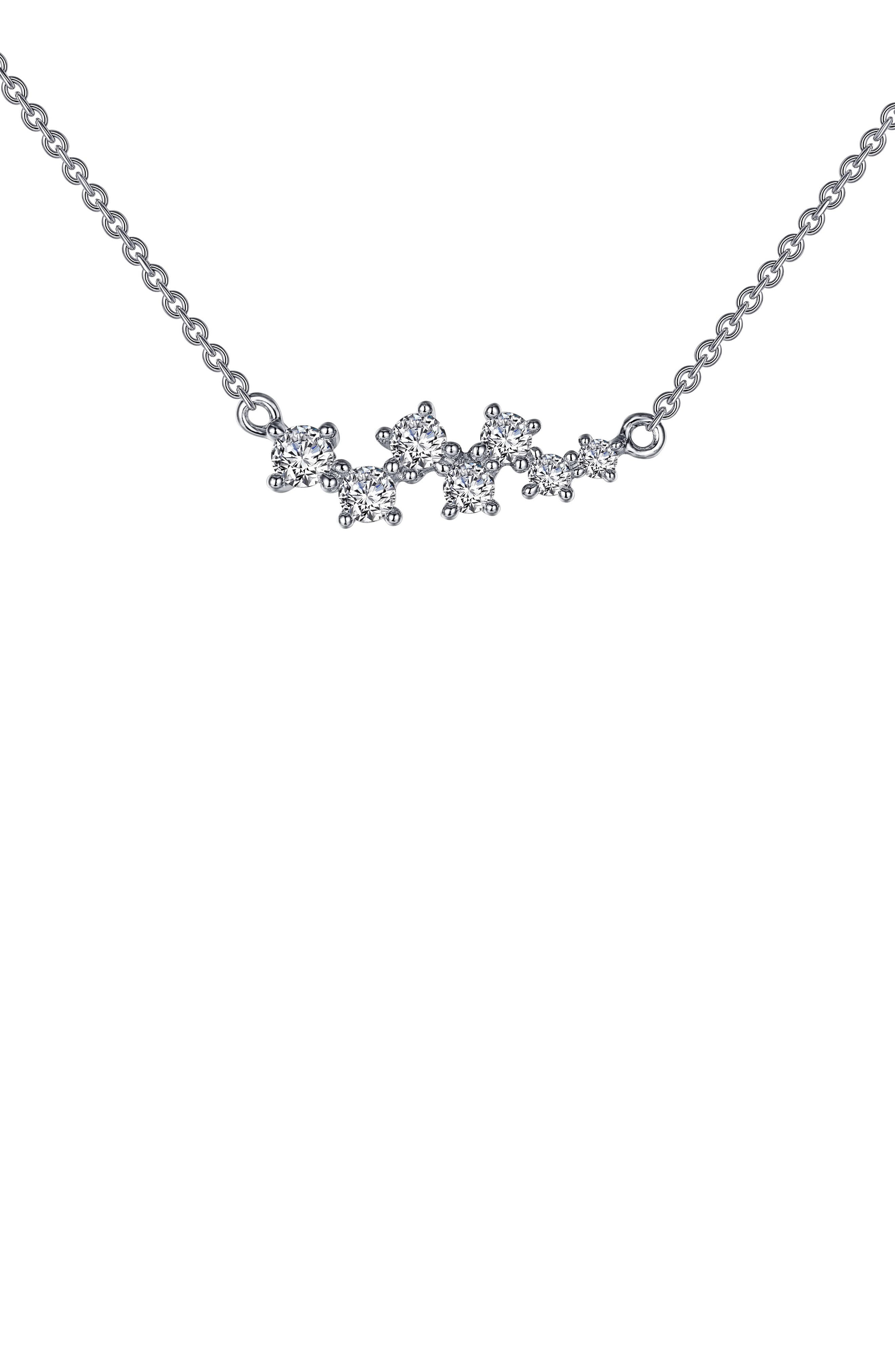 Seven graduated simulated diamonds sparkle from a delicate chain necklace crafted in polished sterling silver bonded with platinum. Style Name: Lafonn Seven Symbols Of Joy Necklace. Style Number: 5884463. Available in stores.