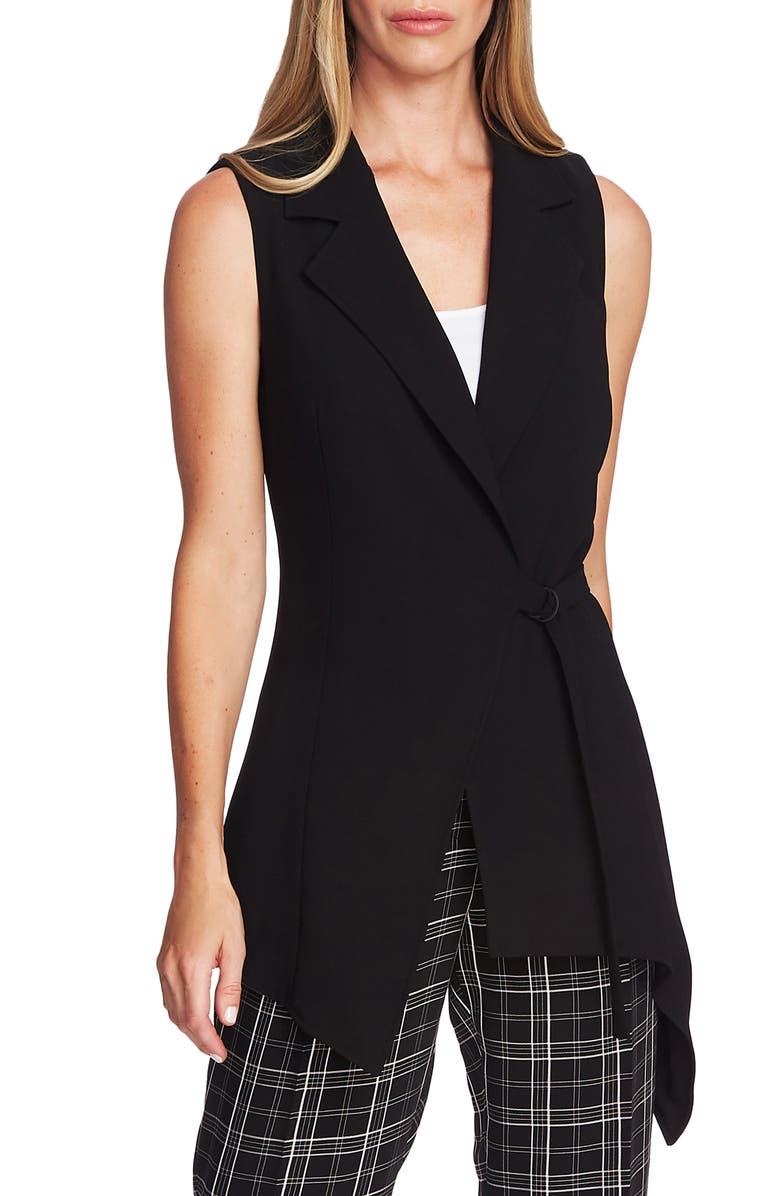 VINCE CAMUTO Asymmetrical Wrap Vest, Main, color, RICH BLACK