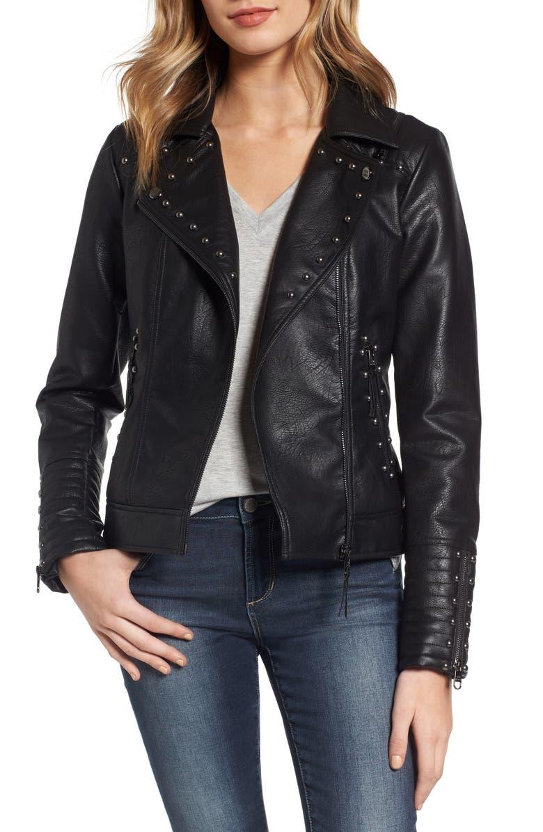 STEVE MADDEN Studded Faux Leather Biker Jacket, Main, color, 001