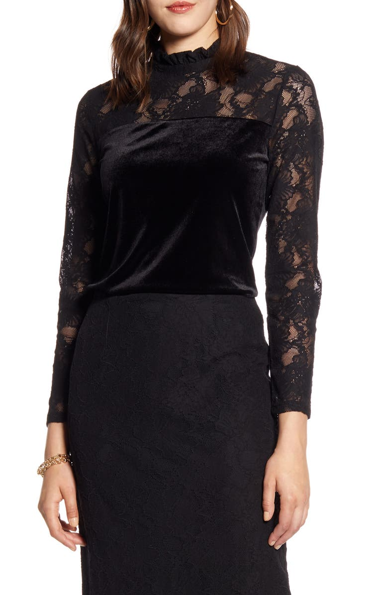HALOGEN<SUP>®</SUP> Lace Pencil Skirt, Main, color, 001