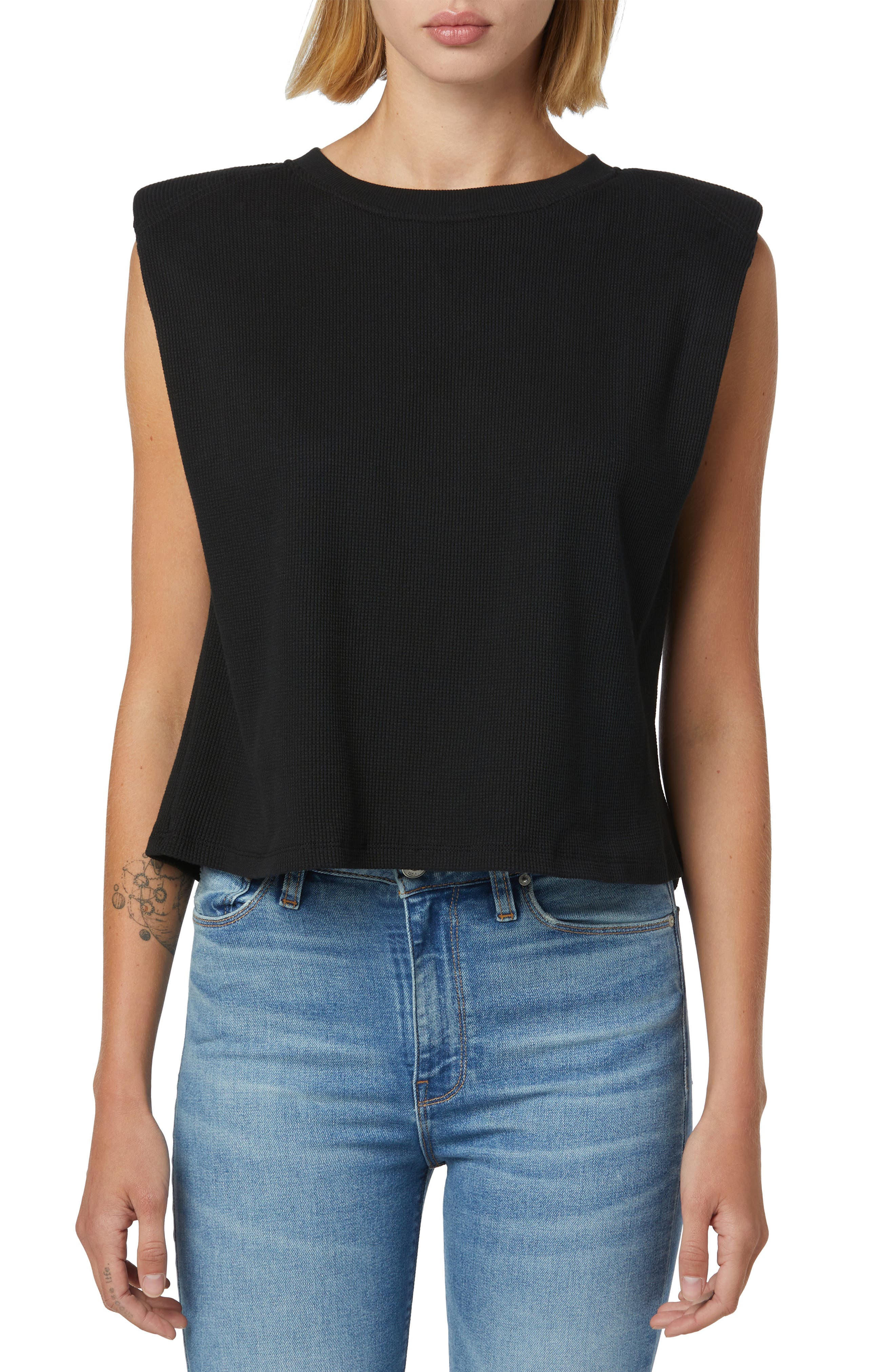 Shoulder Pad Sleeveless T-Shirt