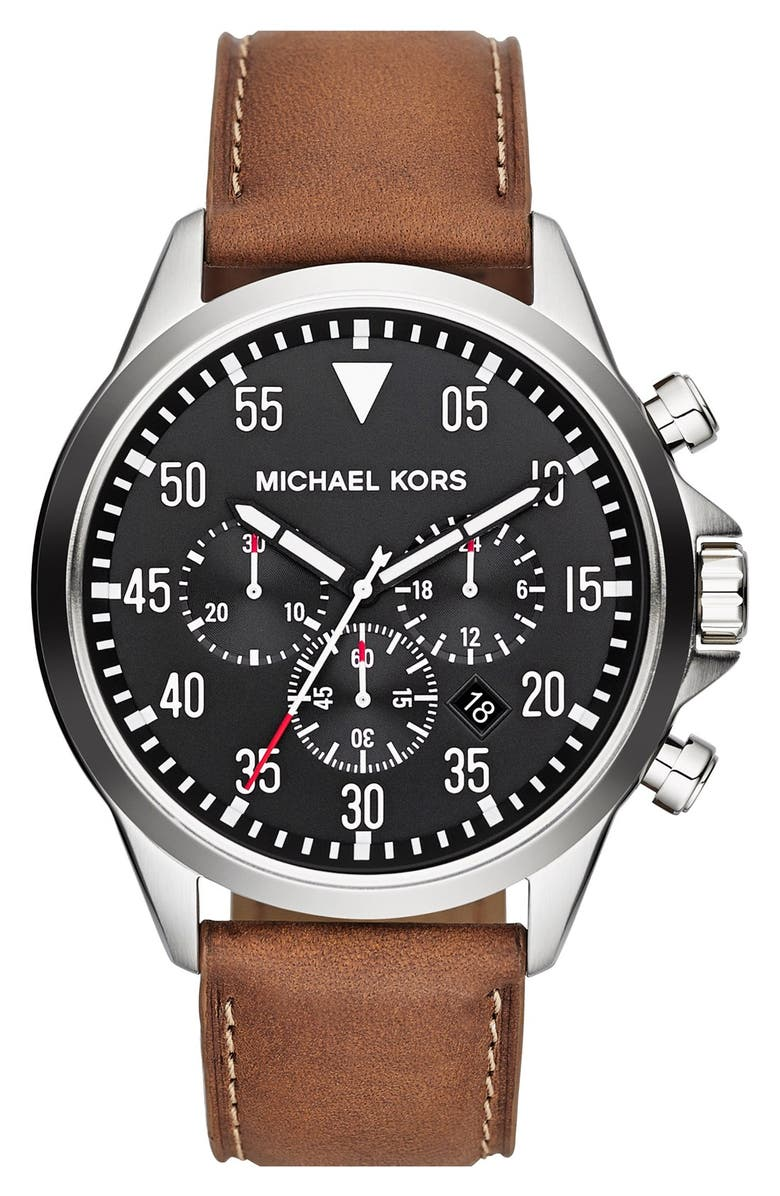 MICHAEL KORS 'Gage' Chronograph Leather Strap Watch, 45mm, Main, color, 200