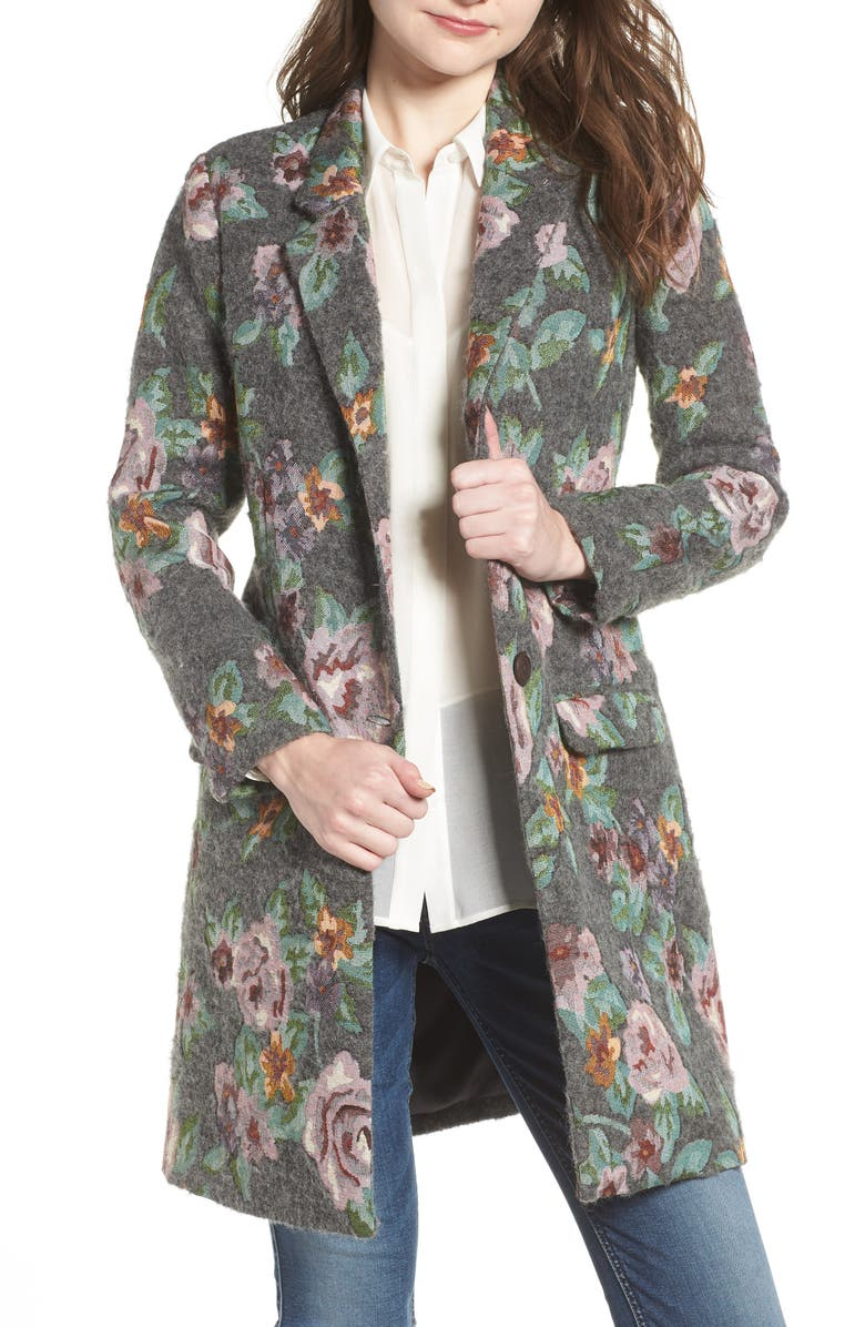 BB DAKOTA Floral Jacquard Long Blazer, Main, color, 021