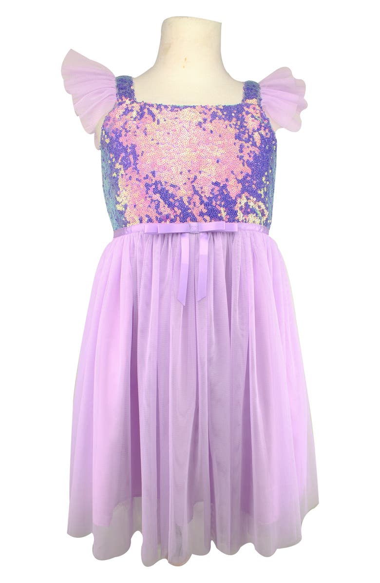 POPATU Sequin Bodice Tulle Dress, Main, color, LILAC