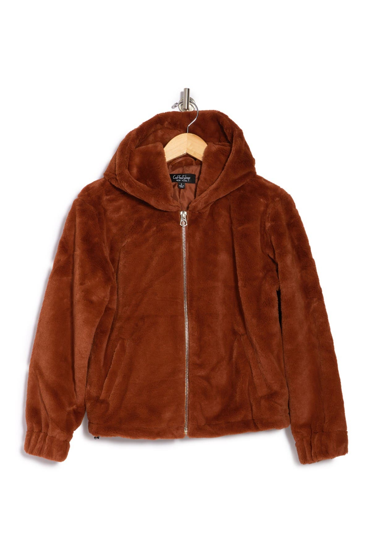 Image of Coffee Shop Faux Fur Hood Jacket