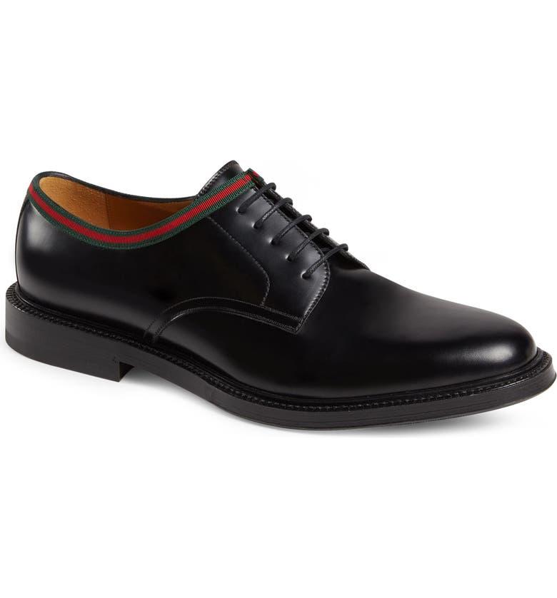 GUCCI Leather Derby, Main, color, NERO