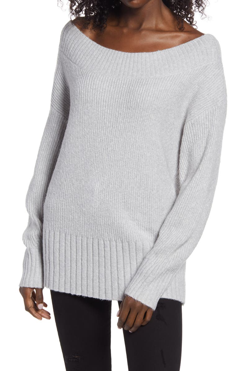 CHELSEA28 Ribbed Off the Shoulder Sweater, Main, color, GREY LIGHT HEATHER