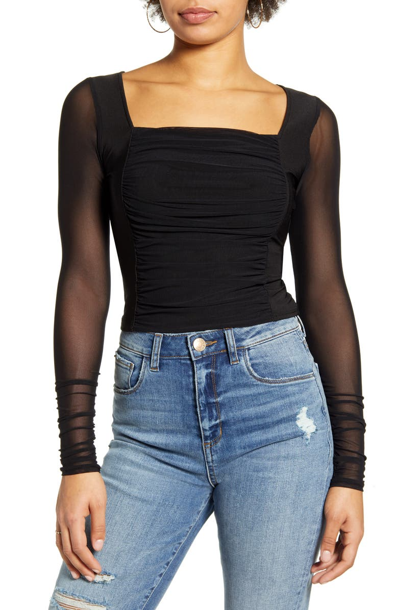 ONE CLOTHING Mesh Top, Main, color, BLACK