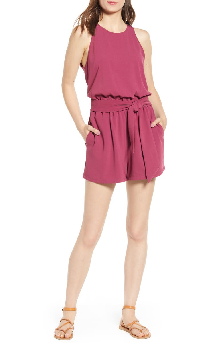 BISHOP + YOUNG Sunset Tie Waist Sleeveless Romper, Main, color, 650