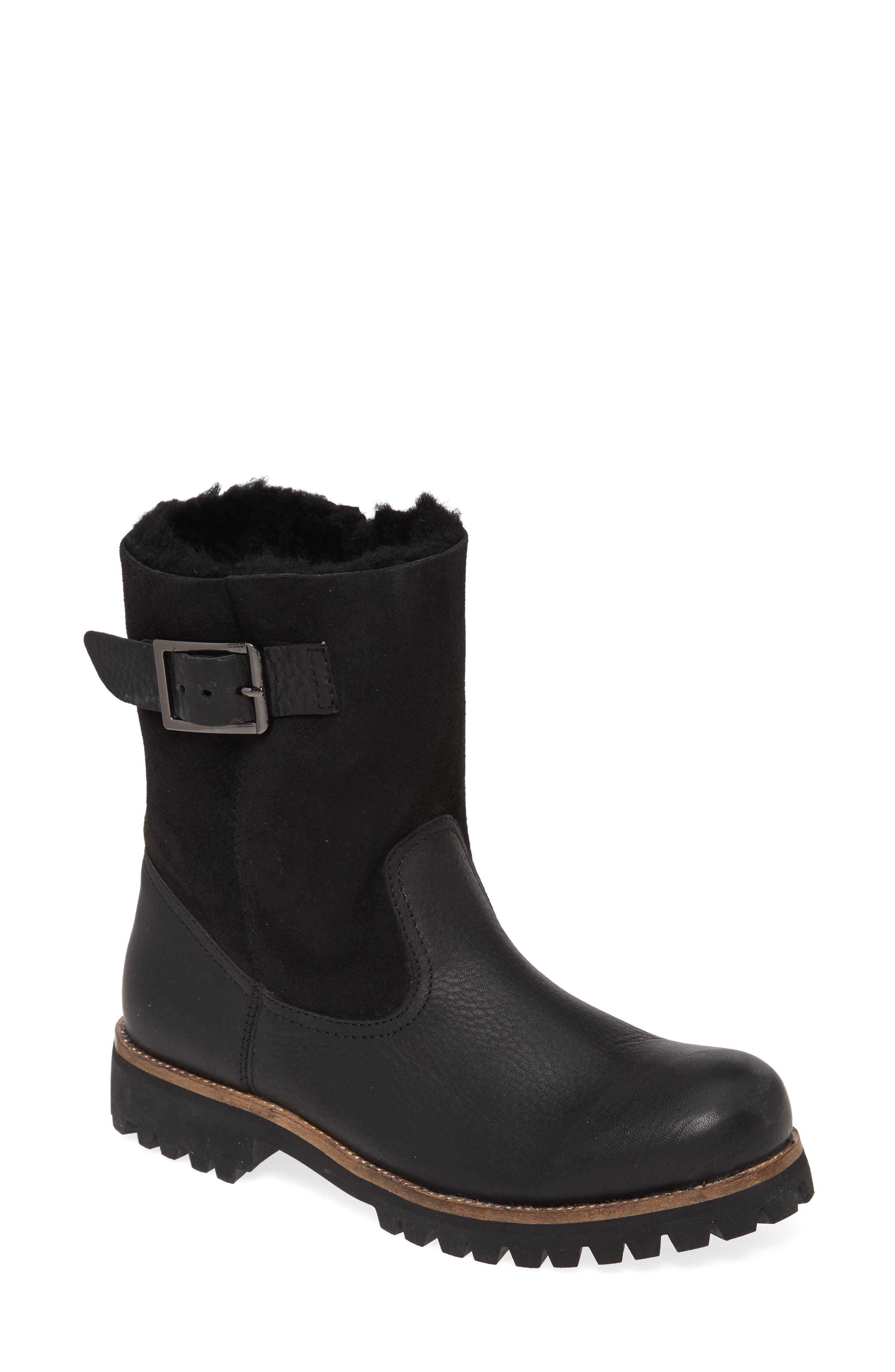 Ol05 Moto Boot With Genuine Shearling Lining