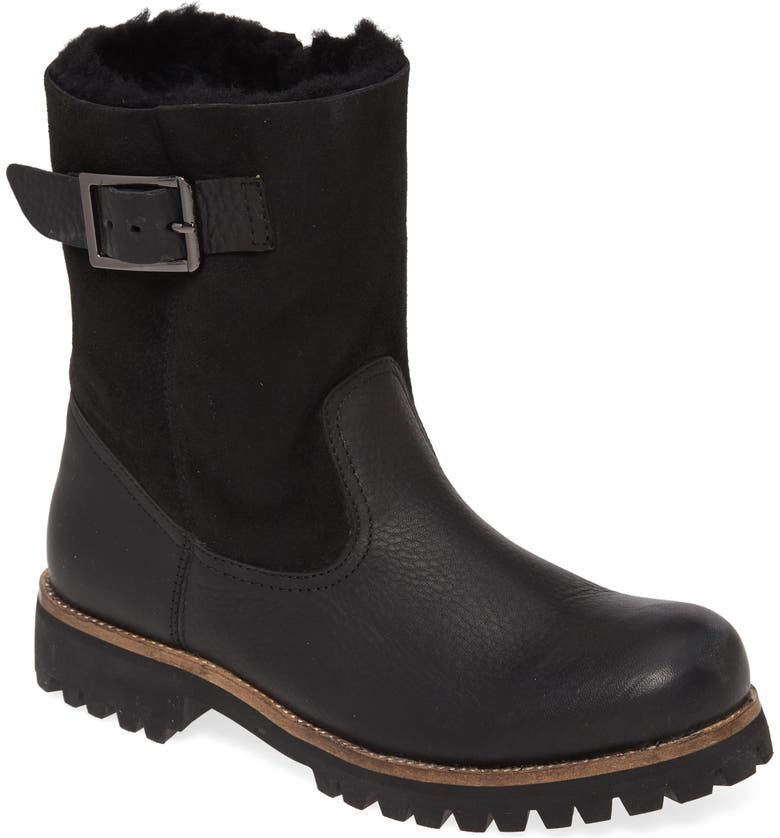 BLACKSTONE OL05 Moto Boot with Genuine Shearling Lining, Main, color, BLACK LEATHER