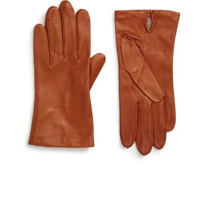 Nordstrom Lambskin Leather Gloves, Brown