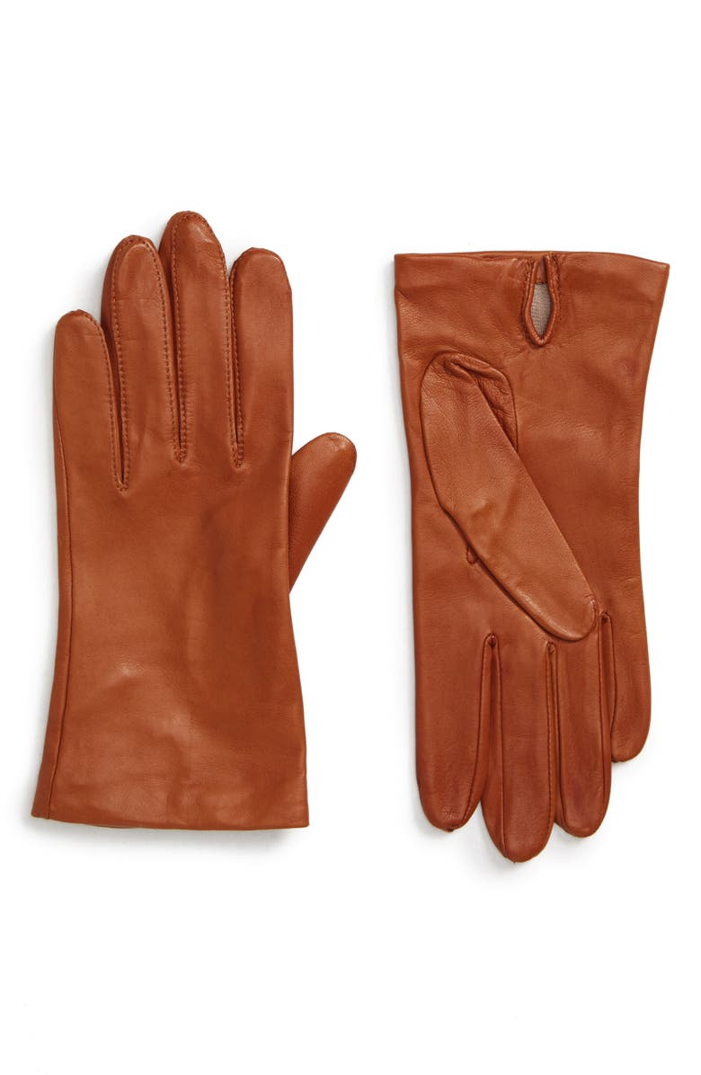 NORDSTROM Lambskin Leather Gloves, Main, color, BRITISH TAN