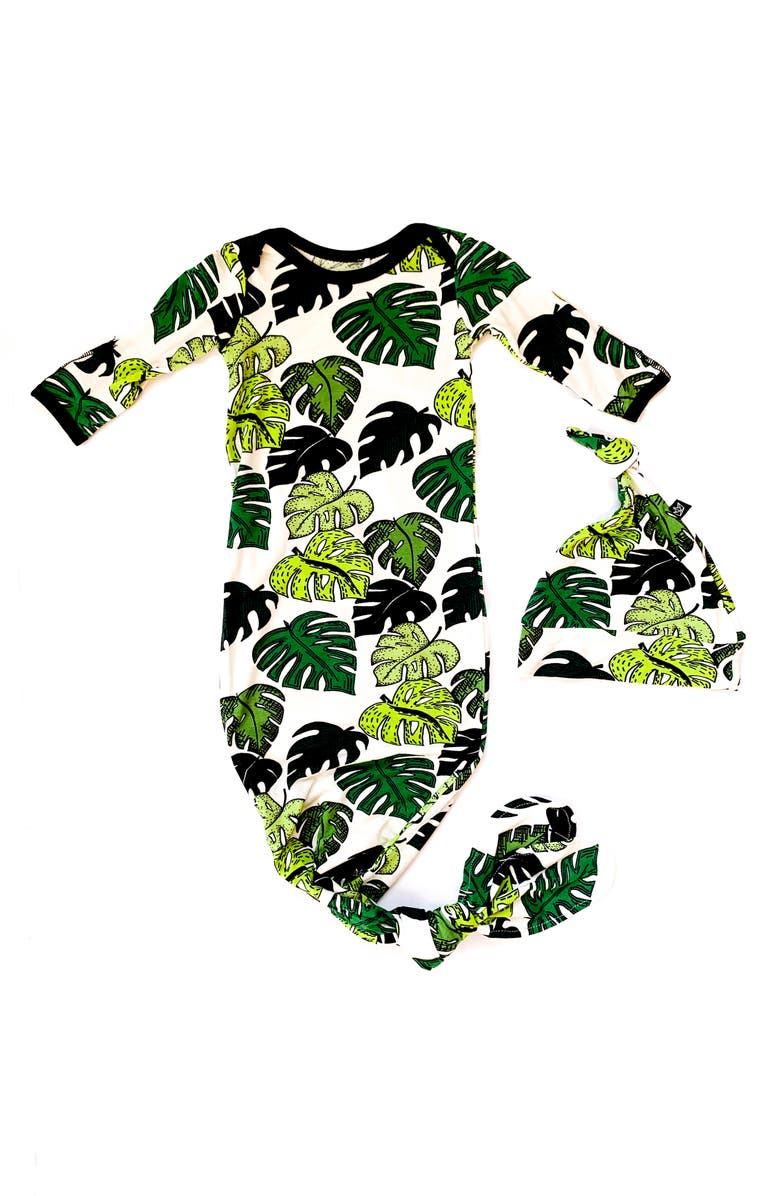PEREGRINE KIDSWEAR Palm Leaves Print Gown & Hat Set, Main, color, GREEN/ WHITE