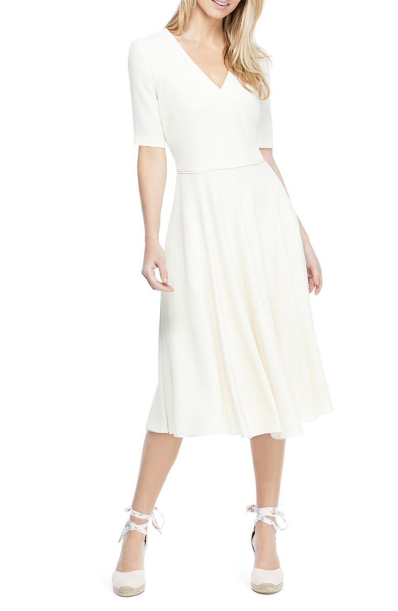 GAL MEETS GLAM COLLECTION Edith City Crepe Fit & Flare Midi Dress, Main, color, CREME