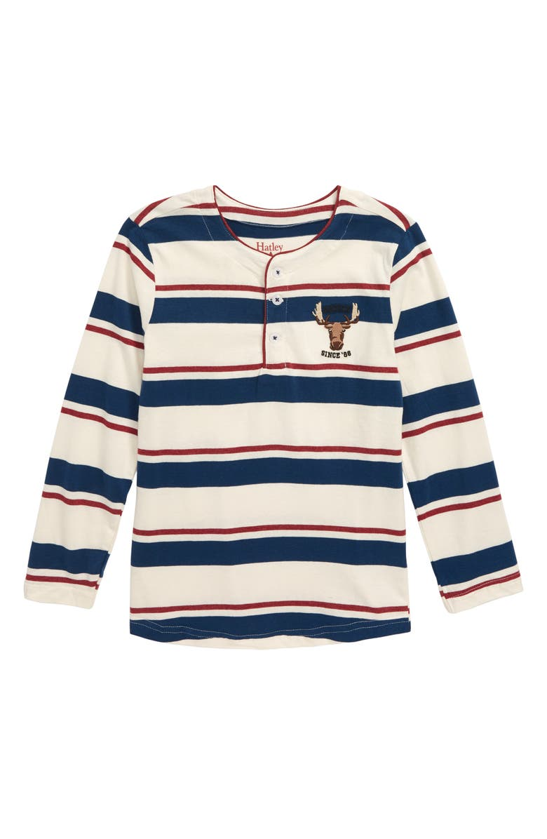 HATLEY Rugby Moose Long Sleeve Henley Shirt, Main, color, WHITE