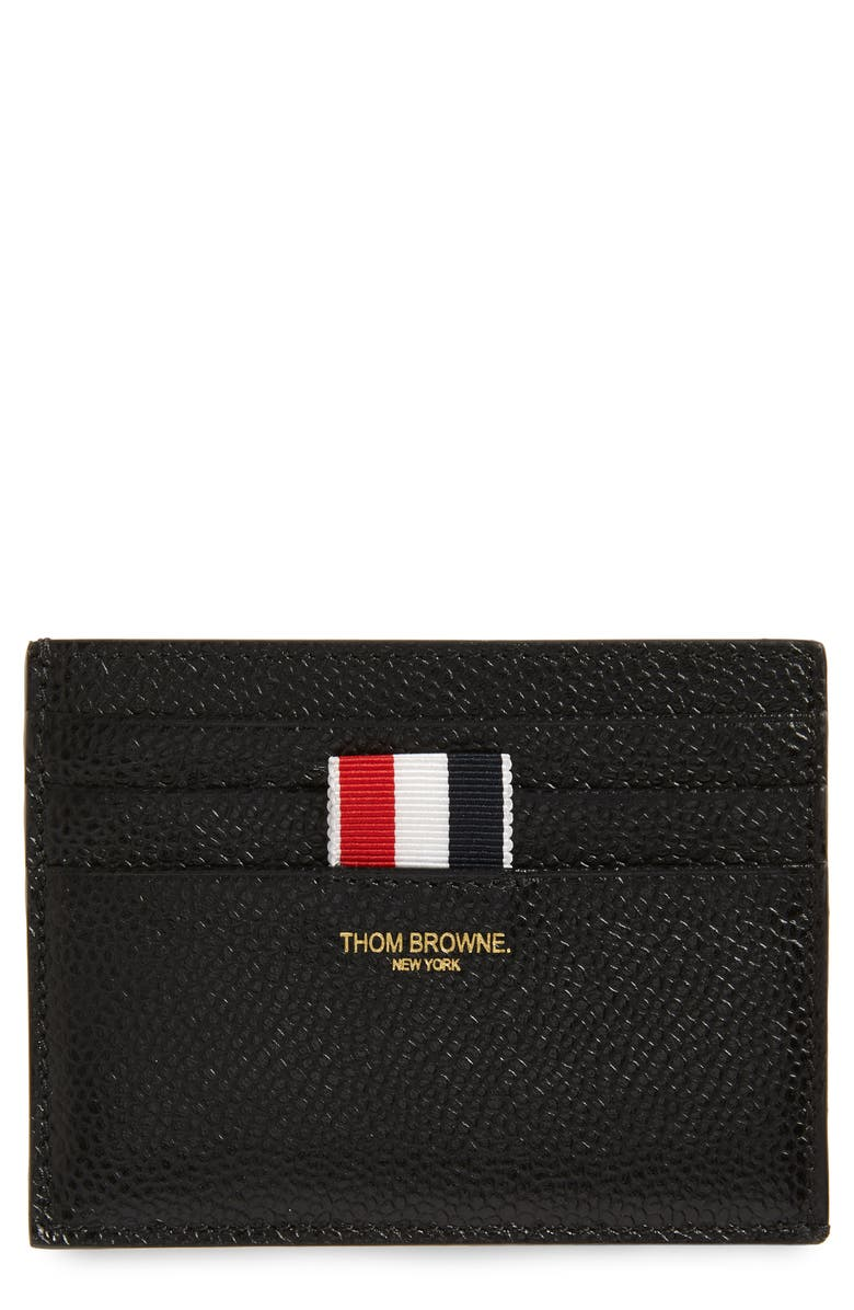 THOM BROWNE Leather Card Case, Main, color, BLACK
