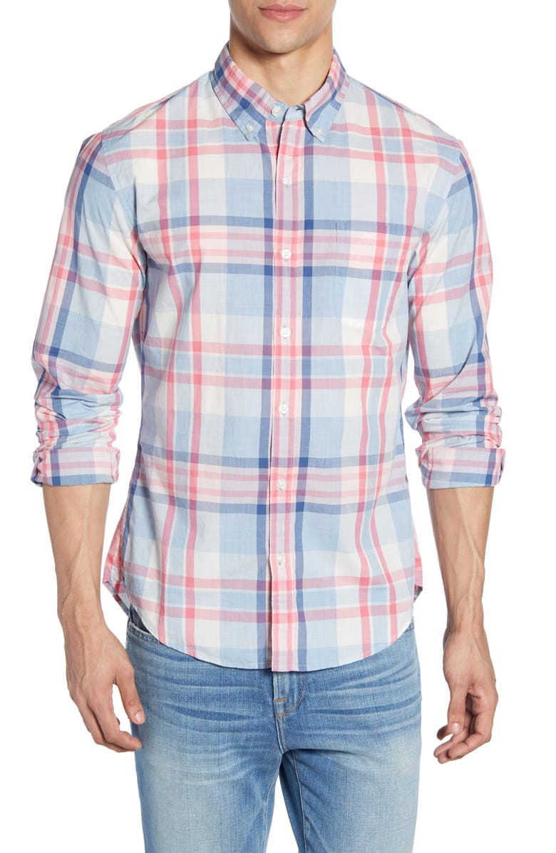 BONOBOS Slim Fit Summerweight Plaid Shirt, Main, color, MATADOR PLAID