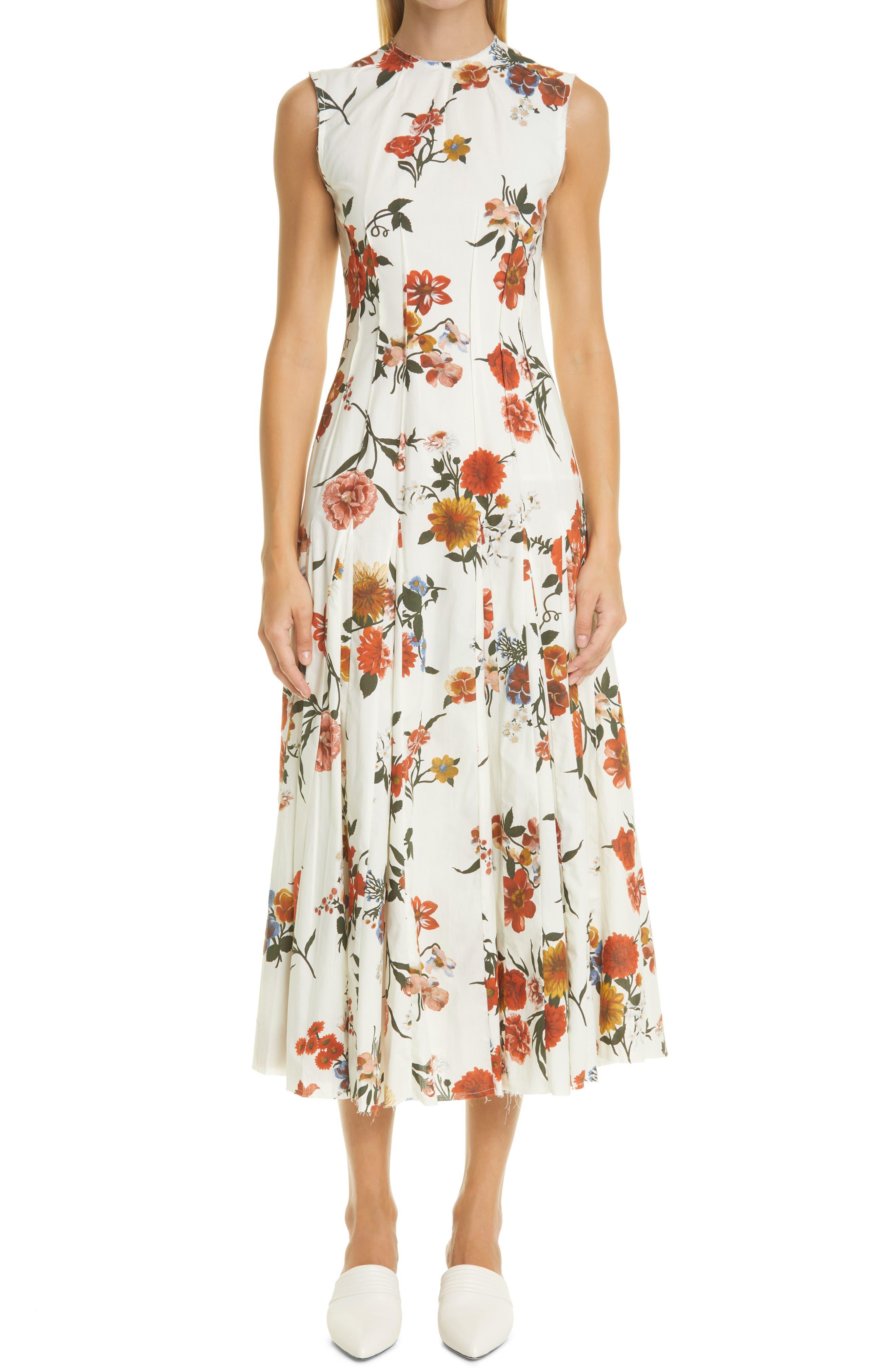 Teena Floral Print Fit & Flare Midi Dress