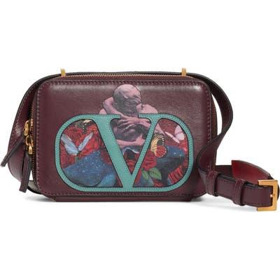 Valentino Garavani Vsling U Print Calfskin Crossbody Bag - Burgundy